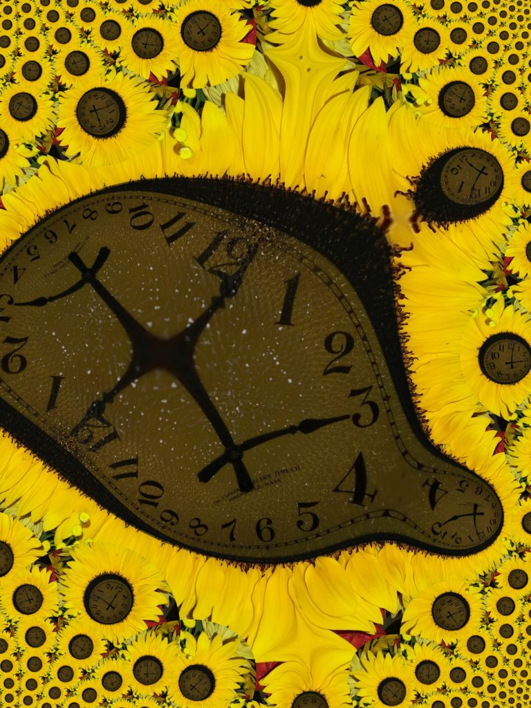 Warped sunflower clock, Mary Warner, 2019.