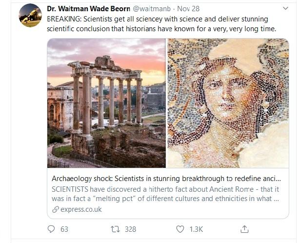 Tweet by Dr. Waitman Wade Beorn, @waitmanb, November 28, 2019.