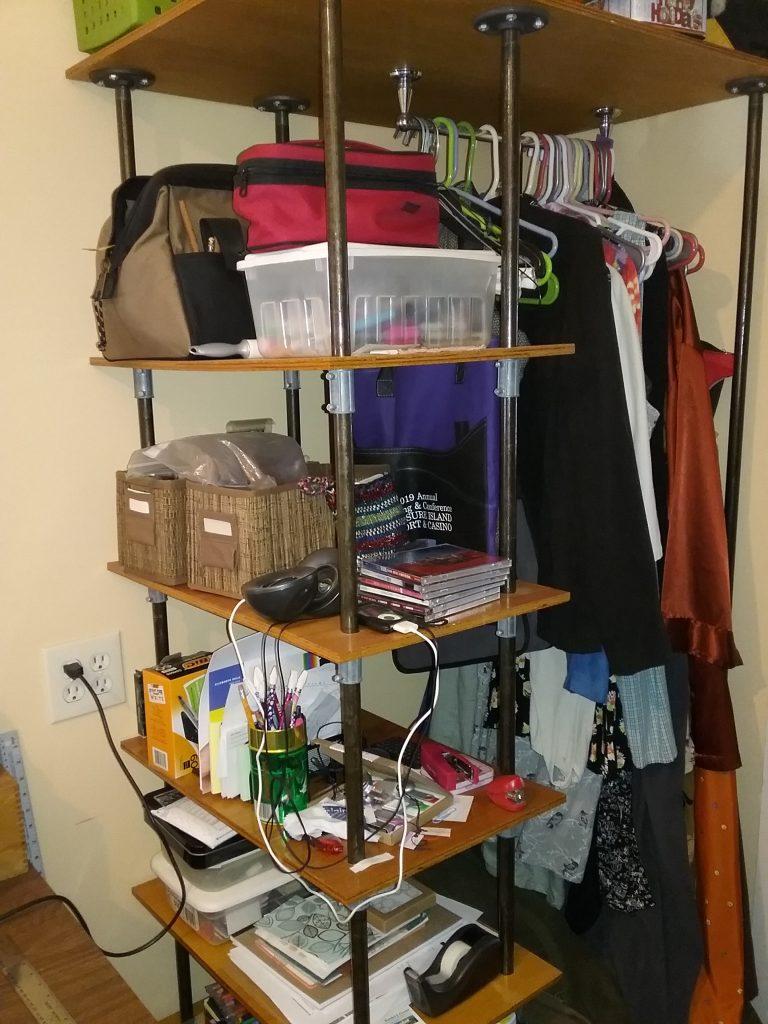 The shelf next to my desk, January 2020.