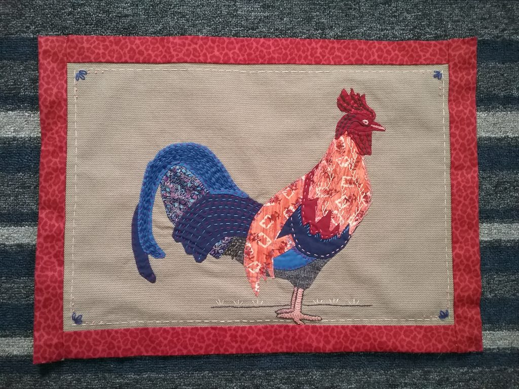 Rooster applique & embroidery by Mary Warner, 2020.