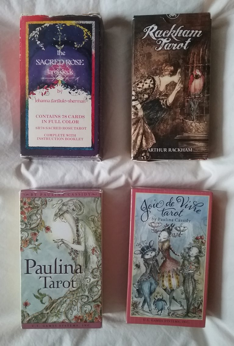 My 4 tarot decks: Sacred Rose, Rackham, Paulina, and Joie de Vivre, 2020.