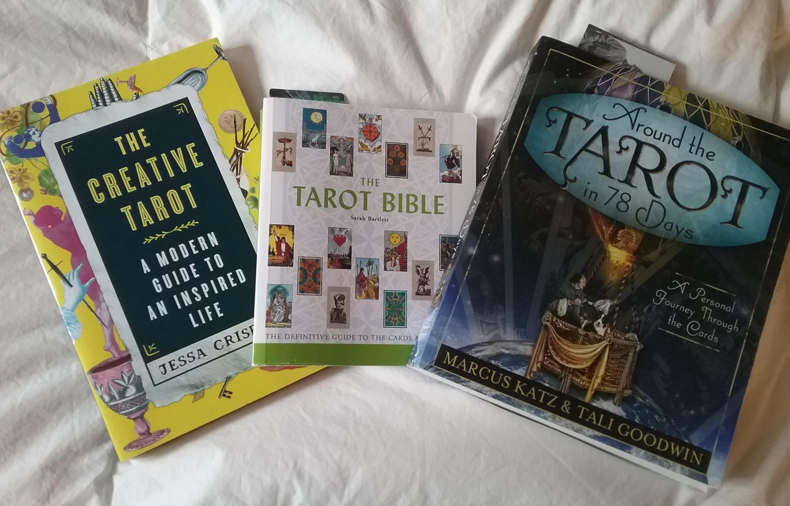 My tarot books: The Creative Tarot, The Tarot Bible, and Around the Tarot in 78 Days, 2020.
