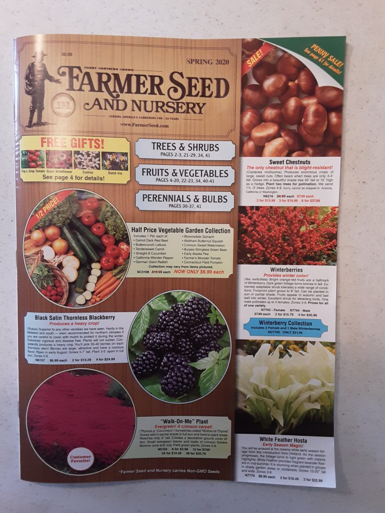 Farmer Seed and Nursery, Spring 2020 catalog.