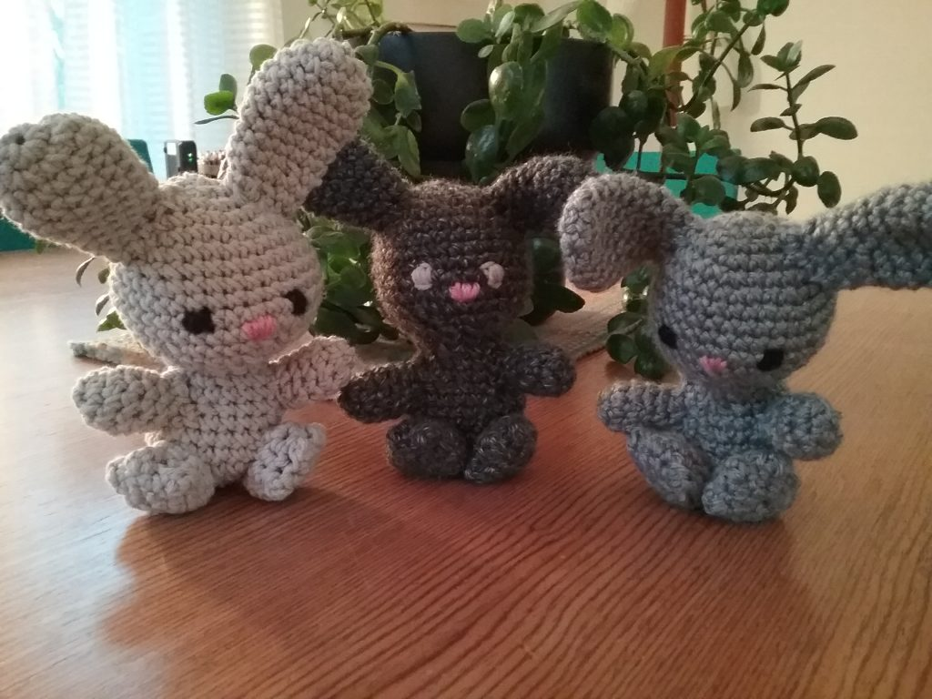 Three amigurumi fertility bunnies from pattern by Sir Purl Grey, by Mary Warner, 2020.