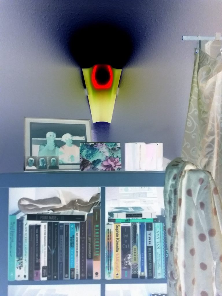 Ghostly bookcase with alien-lit sconce, Mary Warner, May 22, 2020.