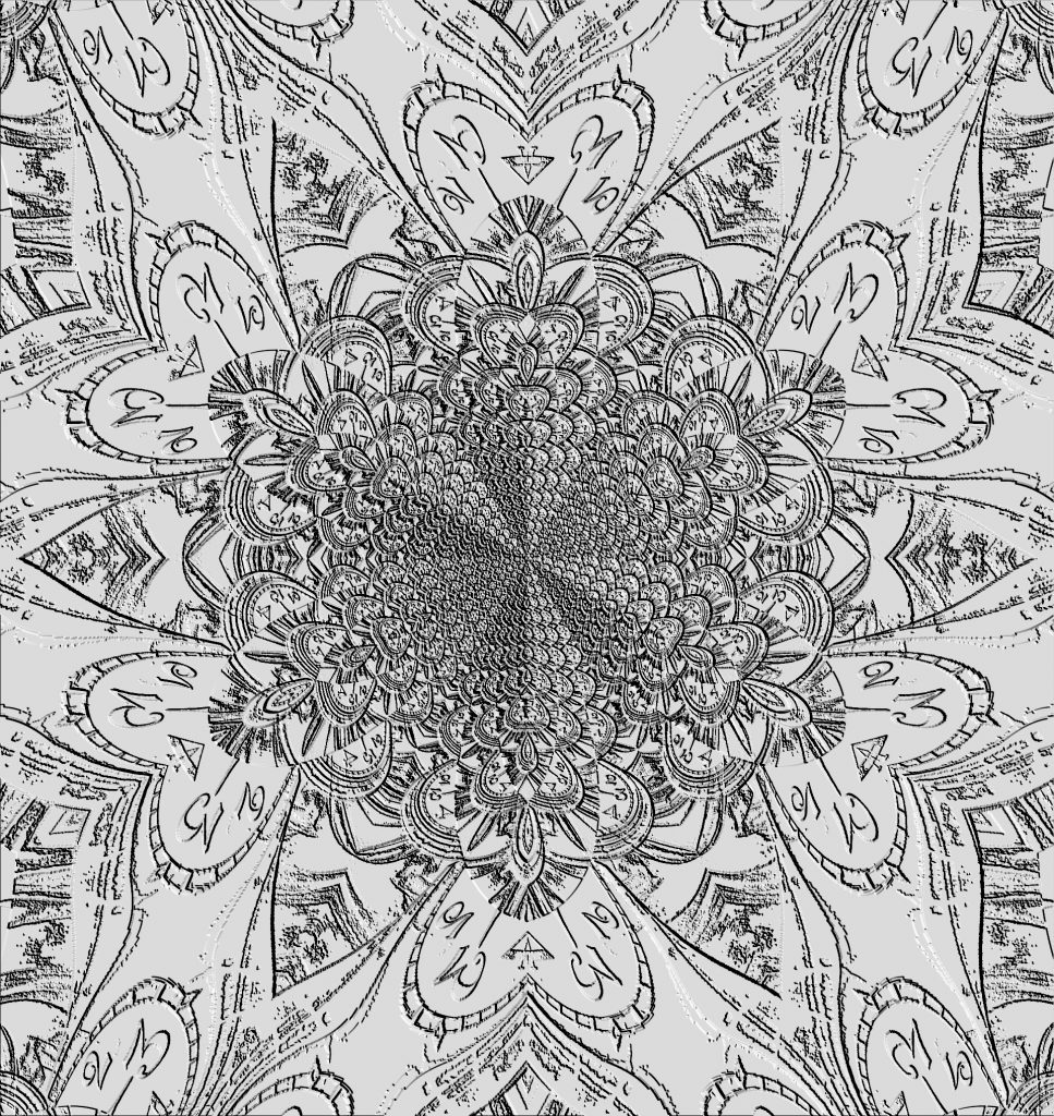 Lacy gray clock mandala, Mary Warner, June 21, 2010.