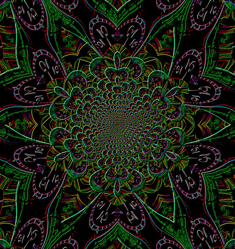 Clock mandala in green & purple, Mary Warner, June 21, 2020.