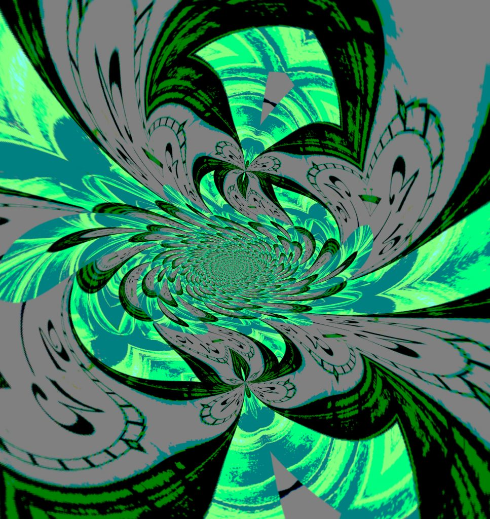 Twisted clock mandala in greens & blues, Mary Warner, June 21, 2020.