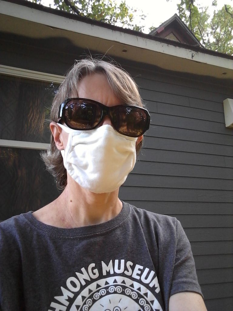 Me in one of my white Hanes masks, September 2020.