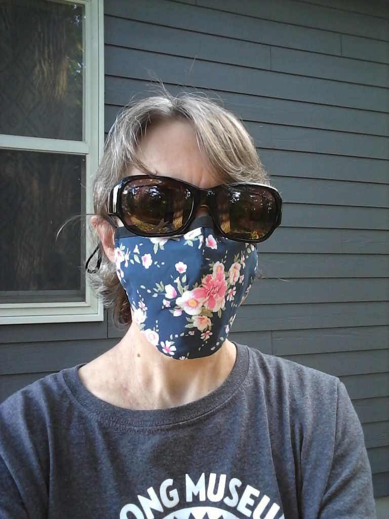 Me in one of my new favorite masks, September 2020. The sunglasses add a metropolitan touch.