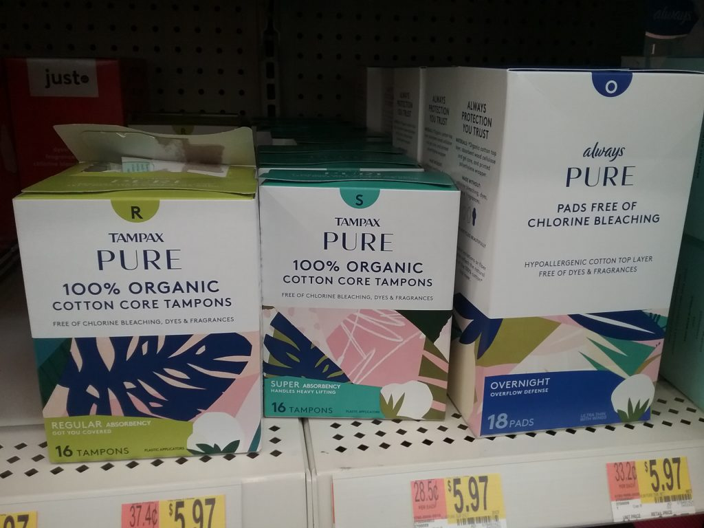 Tampax Pure 100% Organic Tampons and Always Pure Pads Free of Chlorine Bleaching, Walmart, November 8, 2020.