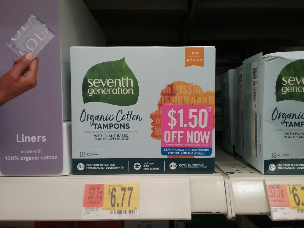 Seventh Generation Organic Cotton Tampons, Walmart, November 8, 2020.