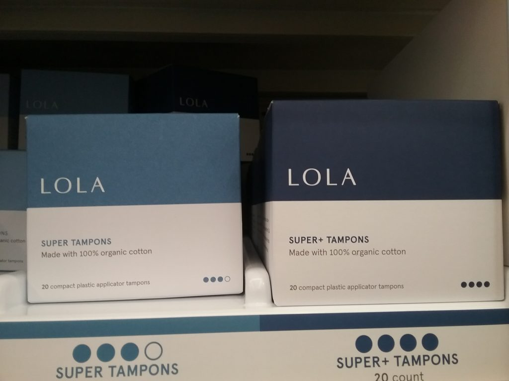 Lola Tampons made with 100% organic cotton, Walmart, November 8, 2020.