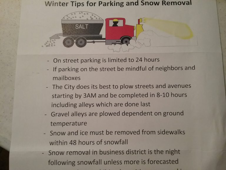 """""""Winter Tips for Parking and Snow Removal,"""" November 2020."""